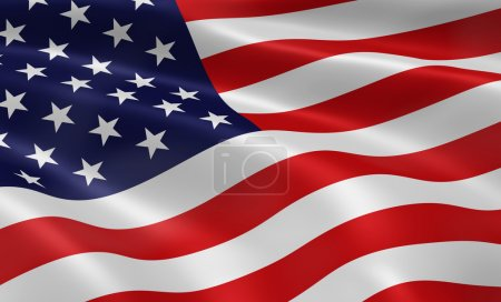 Photo for American flag blowing in the wind. Part of a series. - Royalty Free Image