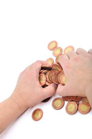 Hand grab coins