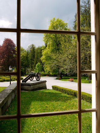 Looking through window at historic park