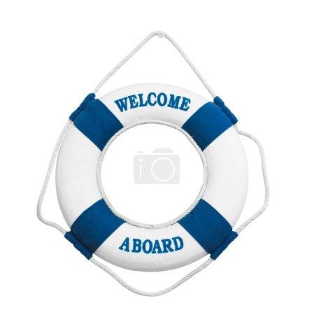 Bienvenue à bord d'un isolé sur fond blanc
