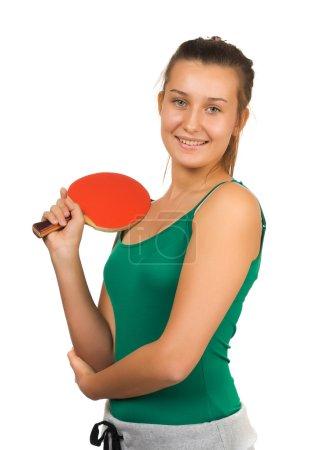 jeune fille belle, jouer au tennis de table