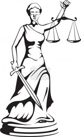 Illustration pour Thèmes - une déesse de la justice - image libre de droit