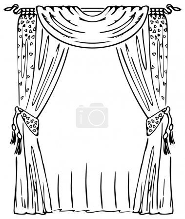 Illustration for Curtain on a Window. Black and white vector illustration. - Royalty Free Image