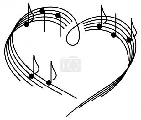 Illustration pour Musique de l'amour. au cœur du camp de musique avec des notes de. - image libre de droit