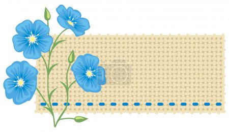 Illustration for Flax flower and a piece of linen. - Royalty Free Image