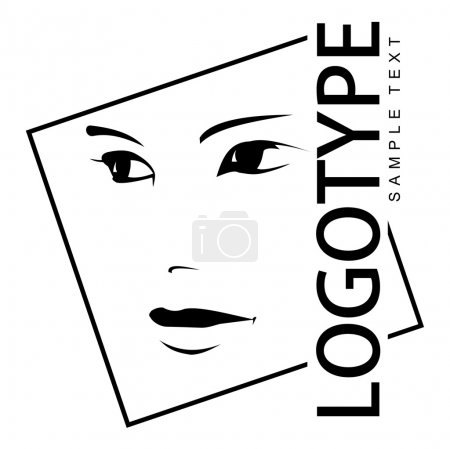 Logotype with portrait of a beautiful girl.