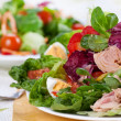 Salad nicoise. Tuna, with green salad, grape tomat...