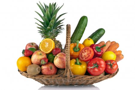 Photo for Colorful fruit and vegetables composition on the Basket isolated on white - Royalty Free Image