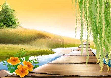 Photo pour Passerelle et ruisseau Meadow - illustration de fond - image libre de droit