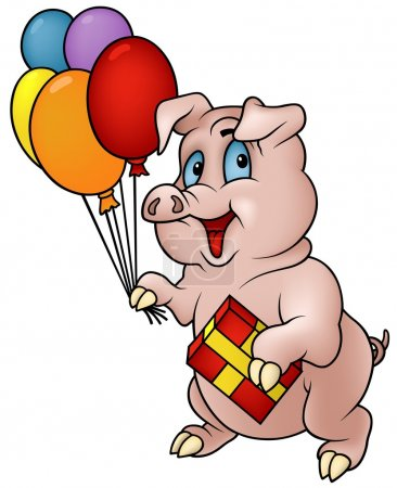 Standing Piglet and Balloons