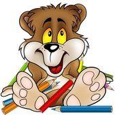 Sladký medvěda a pastelky
