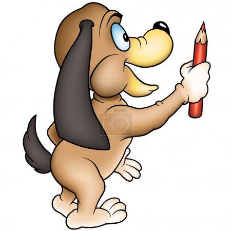 Illustration pour Chien joyeux avec crayon rouge - illustration de dessin animé de couleur, vecteur - image libre de droit