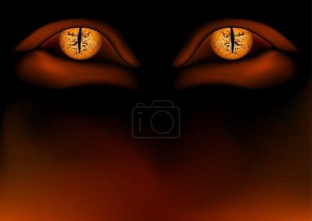 Demon Eyes - colored background illustration, vect...