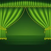 Green Theater Curtain - colored background illustration vector