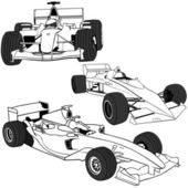 Racing Cars 1 - black outline illustrations vector