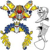 Heraldic Helmets - colored illustrations vector