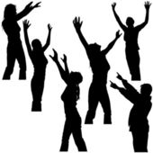 Hands Up - Girl Poses - black silhouettes vector