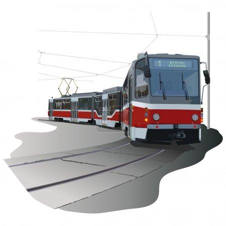 Illustration pour Tramway - illustration colorée, vecteur - image libre de droit