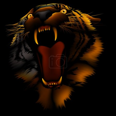 Illustration for Fire Tiger Head - Colored illustration, vector - Royalty Free Image
