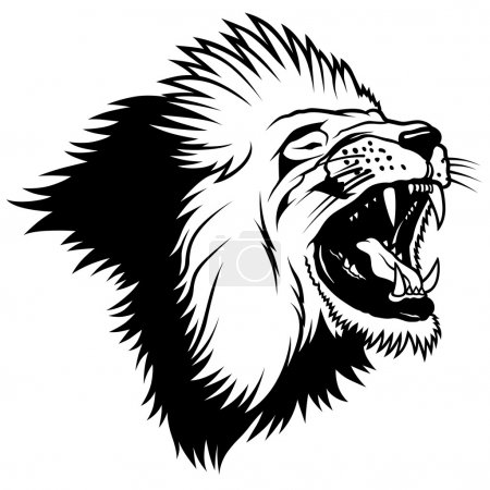 Illustration for Lion Head - Hand Drawn illustration, vector - Royalty Free Image