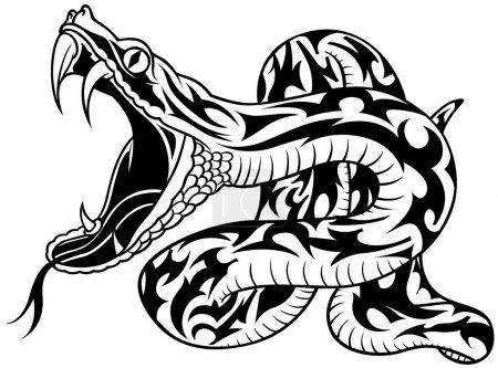 Illustration pour Snake Tattoo 02 - illustration de contour noir, vecteur - image libre de droit