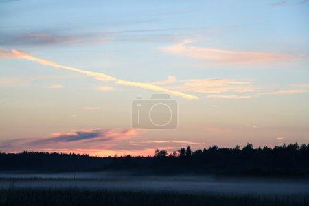 Sunset on the lake. Twilight. The sun had set. Abo...