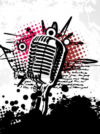 Abstract grungy vector mic