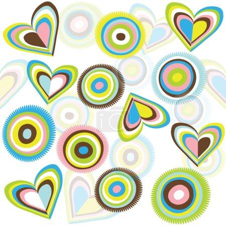 Foto de Fondo retro con círculos y corazones - Imagen libre de derechos