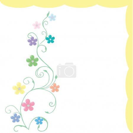 Spring greeting card with delicate flowe