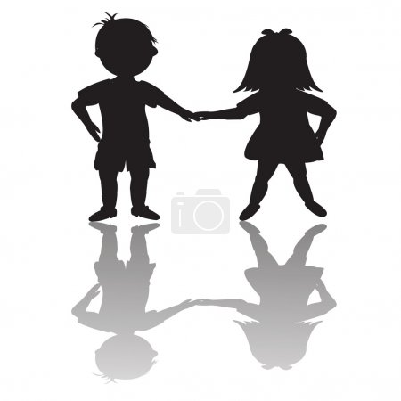 Children silhouettes with shadows