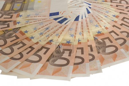 A fan of 50 Euro bank notes.
