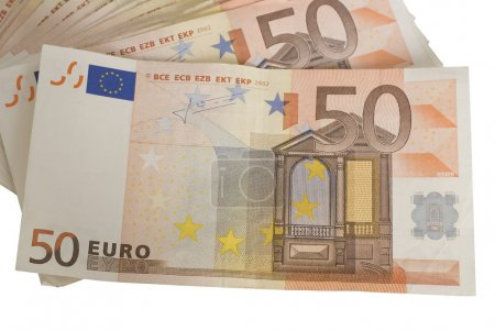 Close-ups of a fan of 50 Euro bank notes