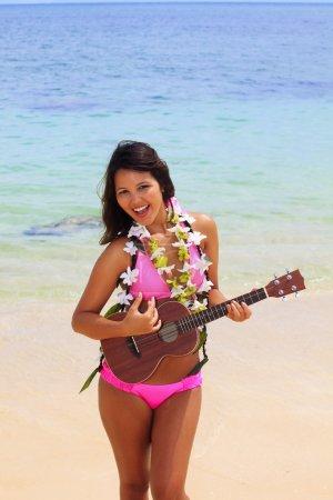 Beautiful Polynesian girl in bikini