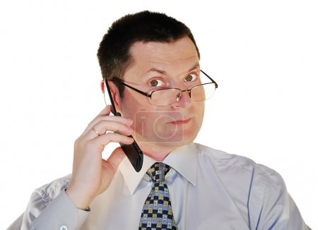 Man in glasses with a cell phone