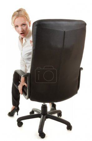 Photo for Portrait of attractive business woman in chair - Royalty Free Image