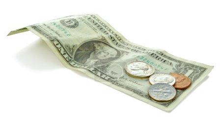 Foto de Billetes de usa - dólares. incluye 1 dólar y algunas monedas - Imagen libre de derechos