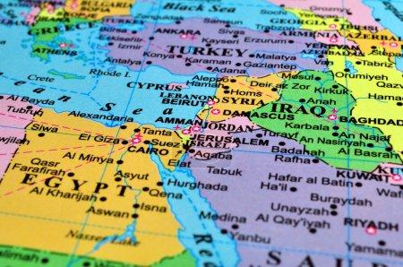 Photo pour Carte du Moyen-Orient, zone de conflit. mettre l'accent sur le secteur Israël-Syrie-Jordanie. - image libre de droit