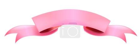 Photo pour Illustration d'une bannière en ruban rose . - image libre de droit