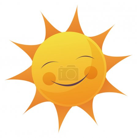 Photo for Artoon illustration of a sun with a smile face. - Royalty Free Image
