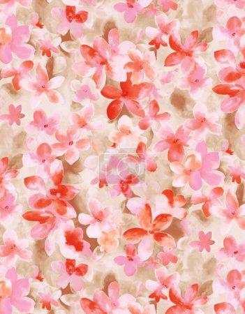 Pink flower pattern,watercolor