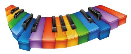 Photo pour Beau clavier de piano coloré dans un fond blanc - image libre de droit
