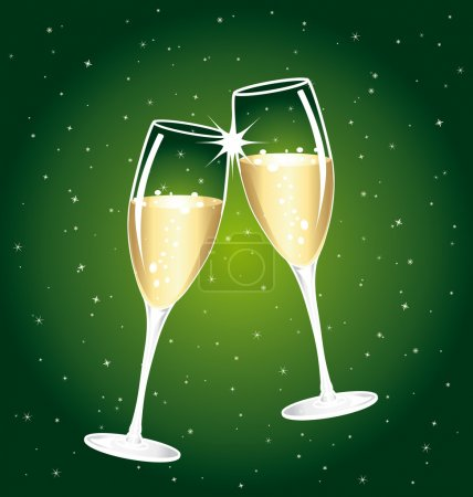 Beautiful champagne toast on a starry background.
