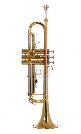 Photo pour Il y a une trompette instrument de musique, nouveau et brillante - image libre de droit