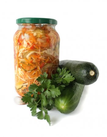 Canned salad in a bank and vegetables
