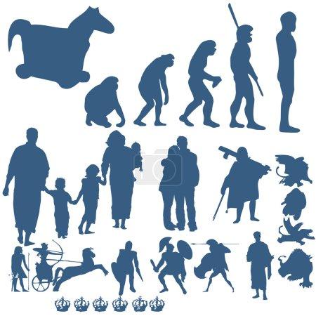 Illustration pour Illustration graphique Silhouettes et objets . - image libre de droit