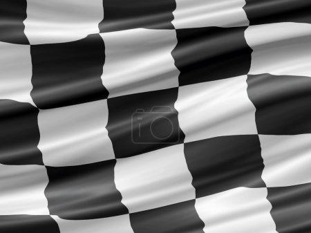 Balck and white checkered racing flag waiving deta...