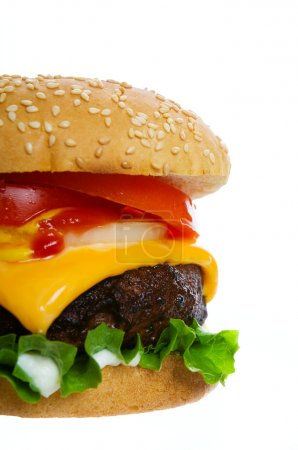 Photo for A large cheese burger on a white background - Royalty Free Image