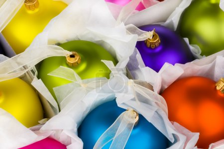 Photo for Boxed Christmas decorations baubles - Royalty Free Image