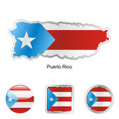 Fully editable vector flag of puerto rico in map and web buttons shapes