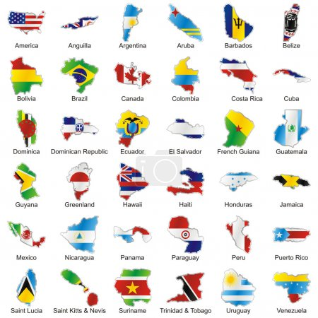 Isolated american flags in map shape